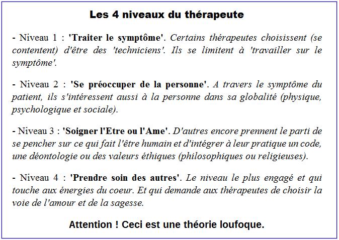 Dérive sectaire - les 4 niveaux du thérapeute